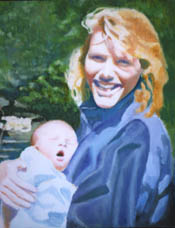 Portrait of B. and baby, Oil, 20x24